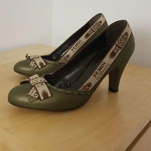 Fendi Green Kitten Heels Sized 38.5/8.5